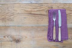 Cutlery on wood Stock Photos