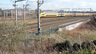 Stock Video Footage of Trains in a residential area