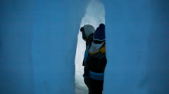 Families walking in an ice castle Stock Footage