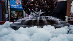 The beautiful fountain with ice at Lansegangwan shopping mall Stock Footage