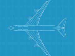 B747 plane blueprint - stock illustration