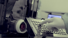 Stock video footage Scientific Industrial building keyboard in a clean shop Stock Footage