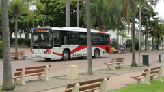 Local bus and people at coconut square, noumea, new caledonia Stock Footage