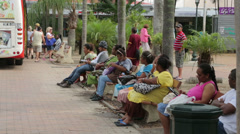 Local people and tourists at coconut square, noumea, new caledonia Stock Footage