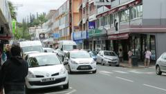 Traffic and shops, noumea, new caledonia Stock Footage