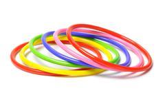 Colorful plastic bangles Stock Photos