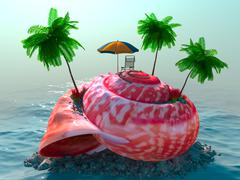 relaxing vacation concept background with seashell, palms, chair and umbrella - stock illustration