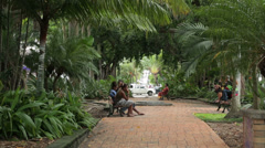 Pan of local people in park, noumea, new caledonia Stock Footage