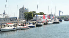 The marina of Warnemuende and parts of the old town (Germany) Stock Footage