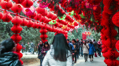 People walk under the red lanterns at Ditan temple fair during Spring Festival - stock footage
