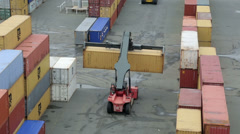 Reach stacker moving shipping containers in port, noumea, new caledonia Stock Footage