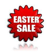 Easter sale in red flower banner Stock Illustration