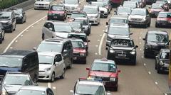 Time Lapse  Asia China Hong Kong Wanchai rush hour Traffic Jam congestion Stock Footage