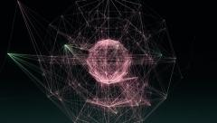 VJ Loop - Spherical network of glowing lines and dancing points Stock Footage