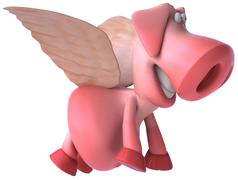 Pink pig - stock illustration