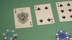 Poker dealer dealing ace cu of cards Stock Footage