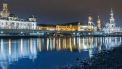 Old city dresden night time lapse pan tilt 11312 Stock Footage