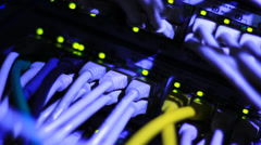 Details of Ethernet server with cables - stock footage