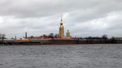 View of the Peter and Paul Fortress Stock Footage