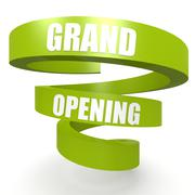 grand opening green helix banner - stock illustration