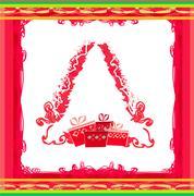 Abstract christmas tree card Stock Illustration