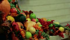 Fall Decoration Basket Stock Footage