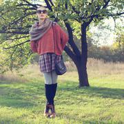 full length portrait of fashionable female model wear in autumn fashion trend - stock photo