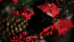 Christmas Wreath in Snow CU Stock Footage