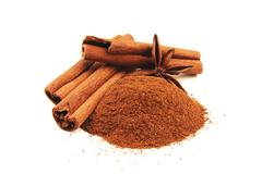 Cinnamon sticks with star anise isolated - stock photo