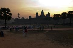 Silhouette of angkor wat temple, cambodia. Stock Photos