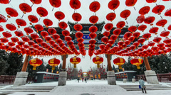 The decorated archway and the red lanterns at Ditan park Stock Footage