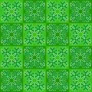 Stock Illustration of green squares with ornament. seamless