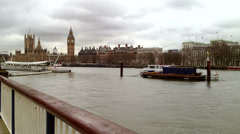 Westminster and Big Ben Clock Tower from Embankment Stock Footage