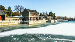 Plenty of people visit the Summer Palace in Winter Stock Footage