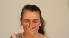 Woman with heavy cough Stock Footage