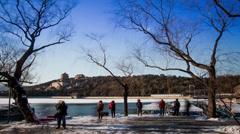 Lots of photography fans shoot picture in the Summer Palace, Beijing, China Stock Footage