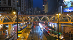 Hong Kong Tram in busy traffic downtown China Asia - stock footage