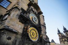 prague astronomical clock tower - stock photo