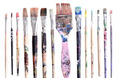 Dirty brushes Stock Photos
