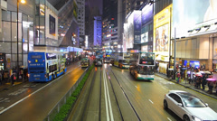 POV Hong Kong Tram in busy traffic downtown China Asia - stock footage