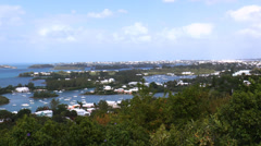 Aerial Lookout View From Gibbs Hill Looking Towards Hamilton Bermuda Stock Footage