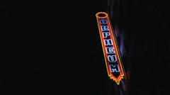 Funky Neon Sign At The Orpheum Theatre Stock Footage
