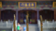 Smoke-filled burning incense,In temple Stock Footage