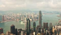 Panning timelapse video of Hong Kong from day to night Stock Footage