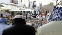 Europe Spain Balearic Ibiza Eivissa city 166 view over shoulder of dress dummies Stock Footage