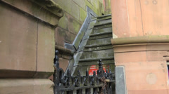 Stone Steps in Red Sandstone with Locked Gate Stock Footage