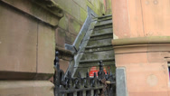 Stock Video Footage of Stone Steps in Red Sandstone with Locked Gate