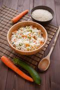 basmati rice with veggies - stock photo