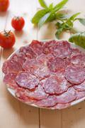 Dish of sausage Stock Photos
