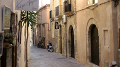 Europe Spain Balearic Ibiza Eivissa city 148 old alley in the old town - stock footage